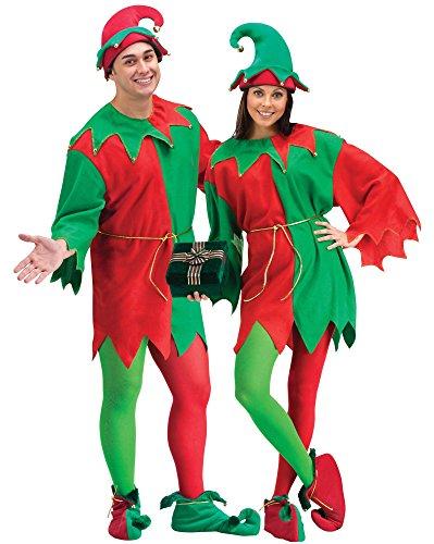 Weihnachts-Wichtel Kostüm für Erwachsene mit Glöckchen inkl. Hut und Stulpen - rot/grün - One Size / (Kostüme Erwachsenen Weihnachten Elf)