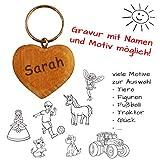 Schlüsselanhänger Herz mit Gravur - beschriftbar mit Name + Motive wie Liebe, Auto, Schutzengel, Einhorn, Fußball, Notenschlüssel - persönliches Geschenk für Partner, Eltern, Kinder ...