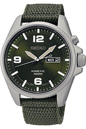 Seiko SMY141P1, Herren Kinetic im Militär-Stil, Edelstahl Fall, Textilgurt, 100m WR - Seiko Herren Uhr Militär