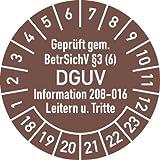 Prüfplakette Geprüft...BetrSichV ... DGUV, 2018 - 2023, Dokumentenfolie, Ø 3 cm, 100 St.