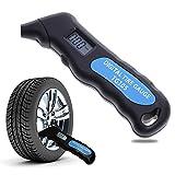 Digital Tire Gauge, yunhigh electrónicos comprobador de presión de los neumáticos con pantalla LCD retroiluminada y agarre de antideslizante para coche Autos Motos, 100PSI, 4ajustes, azul + negro