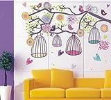 Walplus - Adesivi da parete, motivo: uccellini colorati e gabbiette sul ramo di un albero - Meravigliosi adesivi da parete per trasformare pareti, piastrelle, specchi e altro in pochi secondi - Basta staccarli e attaccarli, sono rimovibili e non lasc...