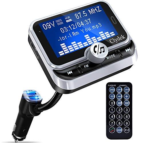 Trasmettitore FM Bluetooth Auto, Clydek Adattatore per Caricabatterie con display da 1,8 'e Telecomando, 4 Modalità di Riproduzione Musicale, Caricatore Rapido QC3.0, Vivavoce, Ingresso e Uscita AUX