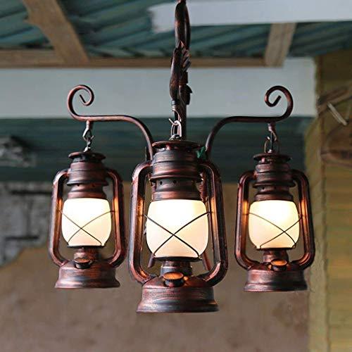 Pendelleuchte Kronleuchter Lampe Decke - 3 Kopf E27 Lichtquelle Alte Öllampe Glasschirm Retro Deckenleuchten für Wohnzimmer Bar Kaffee.