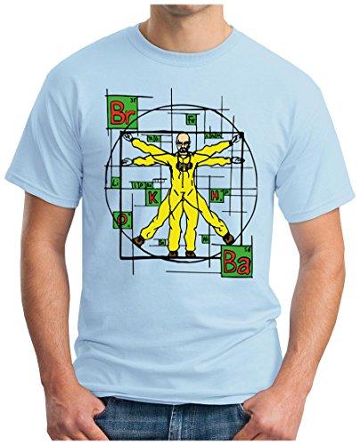OM3 - WALTER DA VINCI - T-Shirt Code Leonardo Breaking Crystal Meth Cook Parodie Geek Fun USA, S - 5XL Hellblau