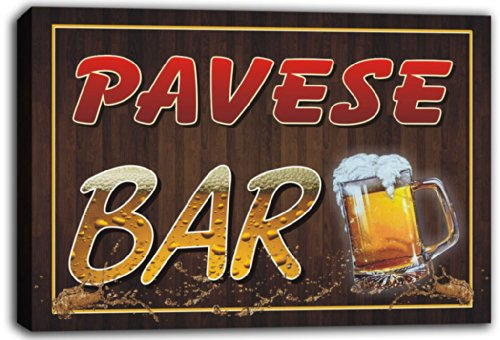 scw3-053381-pavese-name-home-bar-pub-beer-mugs-stretched-canvas-print-sign