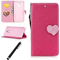 Beddouuk Nokia 6 Wallet Case,Nokia 6 Flip Case,PU Leather Flip Protective Cover Wallet Case Money Pouch with Special Love Heart Magnetic Closure Design Kickstand Feature Strap Bookstyle Folio Full Body Protection Case with Card Slots for Nokia 6(Rose)