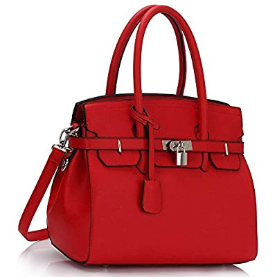 Womens Designer Faux Leather Plain and Ostrich PadLock Tote Shoulder Bags Handbags Sale (Red Padlock Tote Bag)