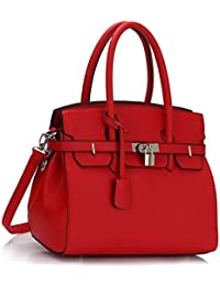 (Red Padlock Tote Bag) - Womens Designer Faux Leather Plain and Ostrich PadLock Tote Shoulder Bags…