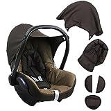 BAMBINIWELT Ersatzbezug für Maxi-Cosi CabrioFix 6 tlg. BRAUN/DUNKELBRAUN, Bezug für Babyschale, Komplett-Set