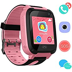 Reloj Niños Smart Watch Phone, LBS/GPS Tracker Smartwatch para Niños Niñas con Cámara SOS Ranura para Tarjeta Pantalla Táctil Reloj Childrens Gift (Pink)