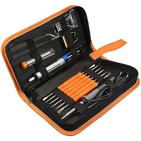 17 Pezzi Saldatura Elettrica Kit ,GOCHANGE 60W 220V saldatura con 200-450 ° C Regolabile Temperatura (Strumenti Filo)