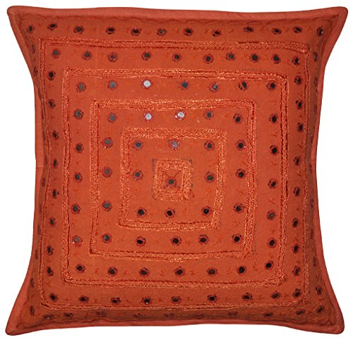 Jaipuri Hand Art Mirror Work Desgin Cotton Single Cushion Cover 16x16 Inches ...