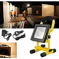 VINGO® 10W LED Batería recargable Proyector Luz de trabajo recargable Warmwhite Handlamp IP65 [Energy Class A ++]