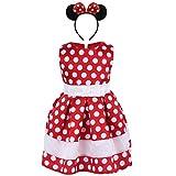 IWEMEK Baby Mädchen Retro Tupfen Geburtstag Bowknot Prinzessin Minnie Kleid Kleinkind Ärmelloses Kleid Karneval Kostüm Partykleid Outfits mit Stirnband Rot 2-3 Jahre