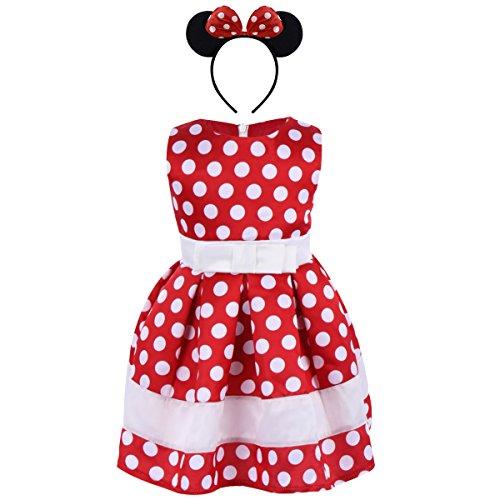 IWEMEK Baby Mädchen Retro Tupfen Geburtstag Bowknot Prinzessin Minnie Kleid Kleinkind Ärmelloses Kleid Karneval Kostüm Partykleid Outfits mit Stirnband Rot 3-4 Jahre