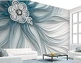BHXINGMU Wandbild Schlafzimmer Sofa Wohnzimmer Tv Hintergrund Streifen Und Blumen Große Kunstwanddekoration 320Cm(H)×450Cm(W)