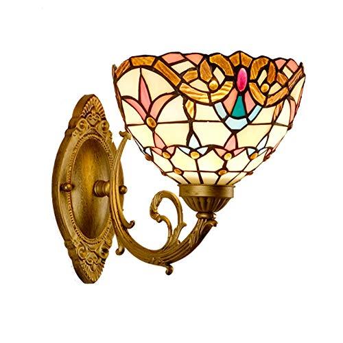 Wandleuchten Tiffany Style Wandleuchte Barock Leuchte Innenbeleuchtung Wände Europäischen Pastorale Retro Glas Handcrafted Wandlampe Glas Lampeschirm Wandlampe Für Schlafzimmer Wohnzimmer -