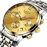 LIGE Herren Uhren Fashion Sport Chronograph Gold Military Wasserdicht Analoge Quarzuhr mit Edelstahlband 9817D