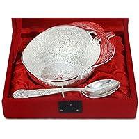 Argento placcato ottone ciotola e cucchiaio in collezione idee regalo di Natale Scatola di velluto