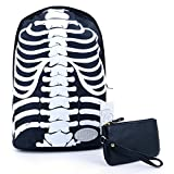 liangdongshop Skeleton Pattern Leisure Nylon Polyester Backpack Large Capacity Double Shoudler Bag Student Backpack Bag (Black+White)