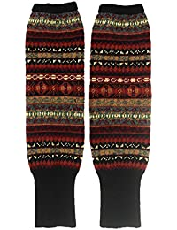 Jelinda invierno mujer bohemio de la Lady calentadores de punto ganchillo calcetines de botas de caña alta Leggings