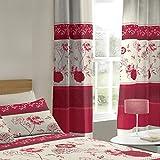 Farn, rot Floral Wohnzimmer/Schlafzimmer Vorhänge mit Sternen
