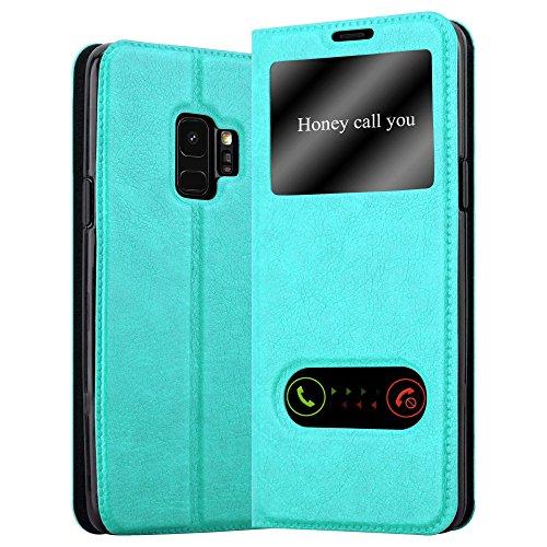 Cadorabo Hülle für Samsung Galaxy S9 - Hülle in Mint TÜRKIS – Handyhülle im Standfunktion und 2 Fenstern (View Design) - Case Cover Schutzhülle Etui Tasche Book Klapp Style