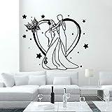 yaoxingfu Autocollants en Vinyle De Mariage Salon De Beauté Décalque De Vinyle Décoration de La Maison De Mariage Art Mural Fille Garçon Danse Romantique Art Décalque De Vinyle Carte Couleur 68x57cm
