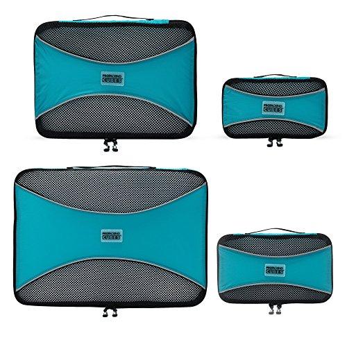 PRO Packing Cubes | Packwürfel im 4-teiligen Sparset | Taschen mit 30% Platzeinsparung | Ultraleichte Gepäckverstauer | Ideal für Seesäcke, Handgepäck und Rucksäcke (Blue)