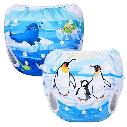 Luxja Schwimmwindel wiederverwendbar (2 Stück), Baby Schwimmhose Verstellbarer, Waschbar Schwimmwindel für Baby (0-3 Jahre)