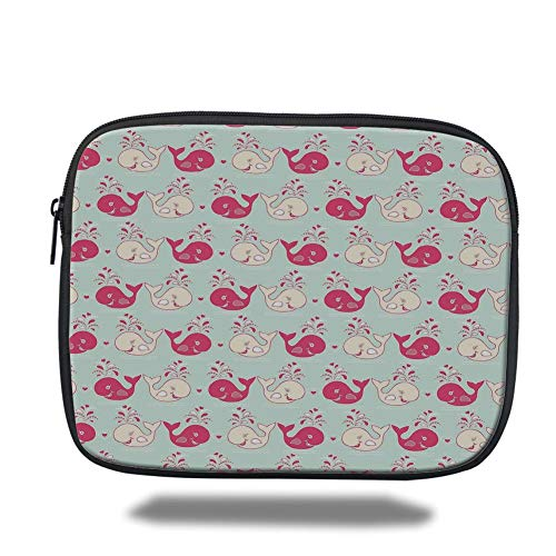 Laptop Sleeve Case,Whale,Cute Happy Cheerful Whales Pattern in Soft Pastel Tone Effects Love Nature Image,Mint Peach Pink,Tablet Bag for Ipad air 2/3/4/mini 9.7 inch
