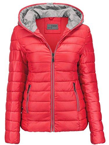 Damen Jacke Steppjacke ÜBERGANGSJACKE Kapuze GESTEPPT Winterjacke Skijacke, Farbe:Rosa, Größe:L (Frauen Für Rosa Ski-jacke)