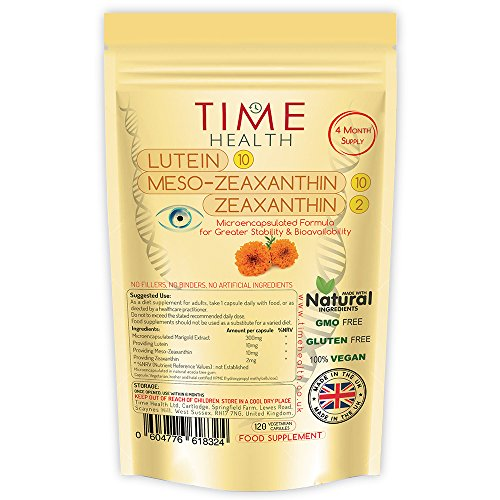 New Micro-encapsulated Formula - Lutein - Meso-zeaxanthin - Zeaxanthin - 100% Pure Natural Highly Bioavailable 4 Month Supply - UK Manufactured (120 Capsule Pouch) Test