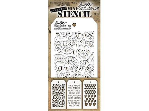 Stempel Anonymous Tim Holtz Mini Layered Schablone Set # 6 (Layered Mini)