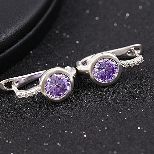 xuping Bijoux Boucles d'oreilles plaqué platine brillant incrusté oxyde de zirconium Pierre Light Purple
