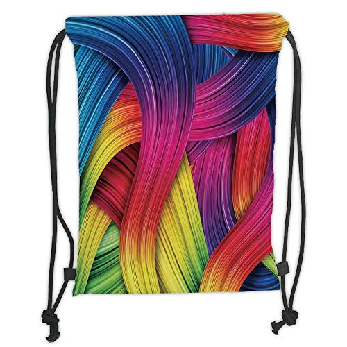 Icndpshorts Drawstring Backpacks Bags,Abstract Home Decor,Colorful Abstract Twirl Wavy Stripe Retro Illustration Summery Sunny Joyful Decorative, Soft Satin,5 Liter Capacity,Adjustable String -
