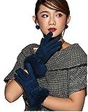 HYSENM Damen Handschuhe Lederhandschuhe Sämischleder mit Kaninfell Schleife Touchscreen verschiedene Farben, Dunkelblau