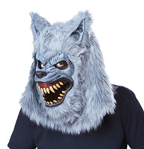 Werwolf Halloween Ani-Motion Maske grau Einheitsgröße