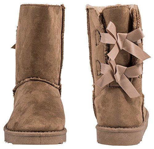 Elara Damen Boots | Bequeme Warm Gefütterte Schlupfstiefeletten Schleifen | Wildlederoptik Khaki
