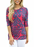 FIYOTE Womens Loose Casual 3 4 Sleeve Floral Print Blouses and Tops T -Shirts(S-XXL) Small Rosy