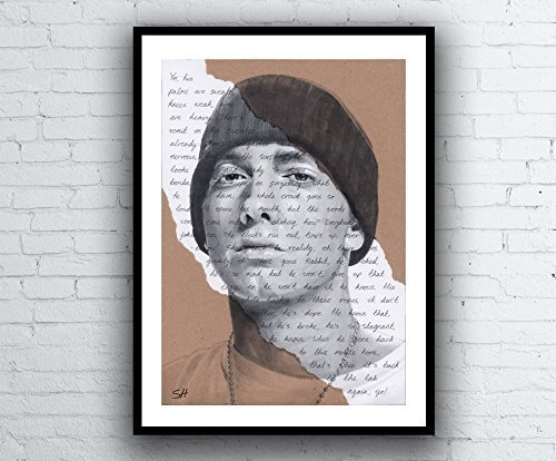 Eminem Portrait Drawing - Giclée art print with Lose Yourself Lyrics Background - Kunstdruck A5 A4 A3 Sizes limited edition slim shady 8 mile -