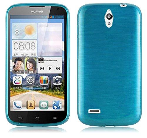 Cadorabo Hülle für Huawei Ascend G610 - Hülle in TÜRKIS – Handyhülle aus TPU Silikon in gebürsteter Edelstahloptik (Brushed) Silikonhülle Schutzhülle Soft Back Cover Case Bumper
