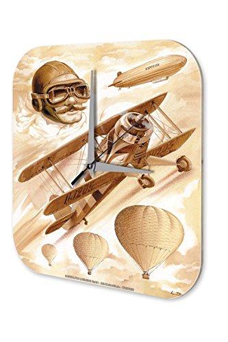 Preisvergleich Produktbild Wanduhr Reisen Airport Deko Zeppelin Flugzeug Heißluftballon Acryl Uhr Vintage
