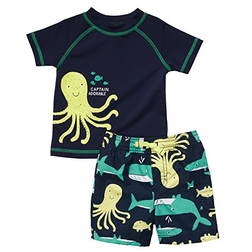 Carter's Badehose + Badeshorts UV Schutz Baby Bademode für Jungen T- Shirt Badehose Sommer Urlaub Strand Baden (50/56, blau) - Carters Baby-shirt