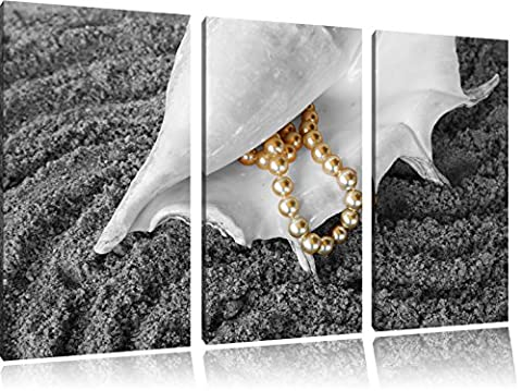 Shell with pearl necklace in the sand black / white