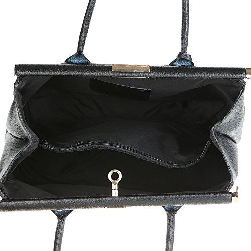 Chicca Borse Handbag Borsa a Mano da Donna con Tracolla in Vera Pelle Made in Italy 35x28x16 Cm Nero