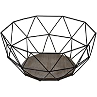 Corbeille à fruits–moderne métal noir design en bois marron–26,5x 25x H12cm