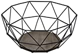 CALUTEA Moderner Obstkorb - Metall Schwarz Holz Design Braun - 26,5x25xH12 cm