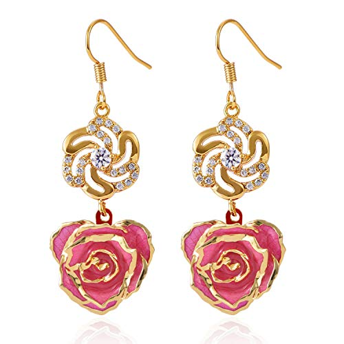 6722a7222 (Pink) - Earrings for Women 24K Gold Dipped Rose Flower Dangle Ear rings  Jewellery